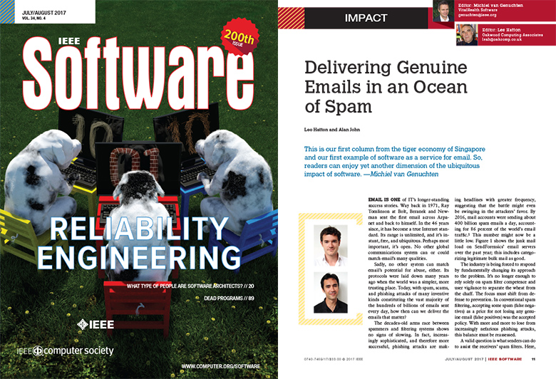 IEEE Software 200th Issue: Delivering Genuine Emails in an Ocean of Spam